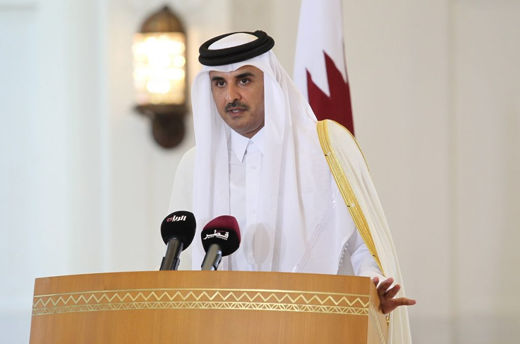 Emir of Qatar Sheikh Tamim bin Hamad al-Thani speaks during a news conference in Doha